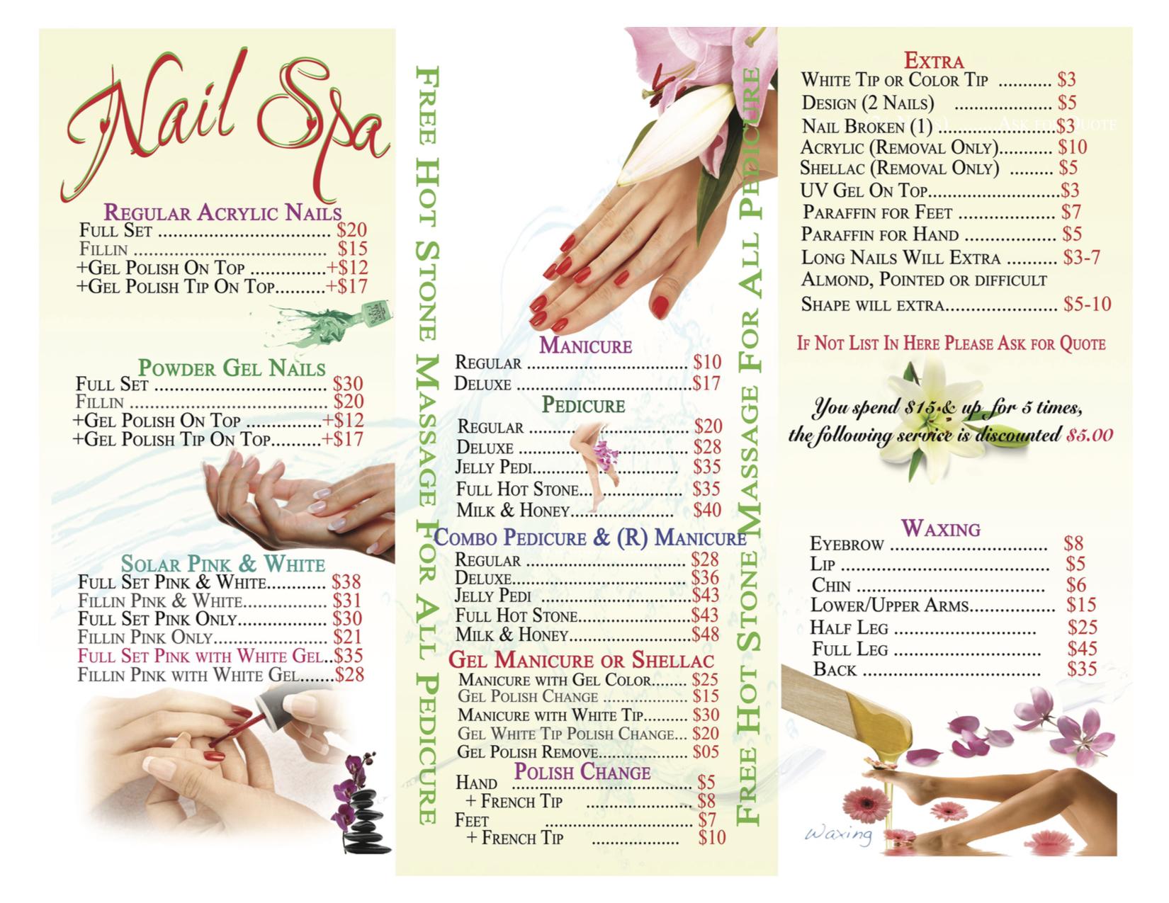 Nail spa salon price list for Acrylic nail salon prices